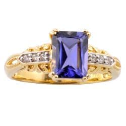 Michael Valitutti 14k Yellow Gold Iolite and Diamond Accent Ring