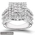 Annello 14k White Gold 2ct TDW Princess-cut Pave Diamond Ring (H-I, I2-I3)
