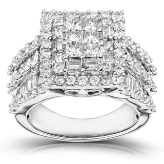 Annello 14k Gold 2ct TDW Princess-cut Diamond Halo Ring (H-I, I2-I3)