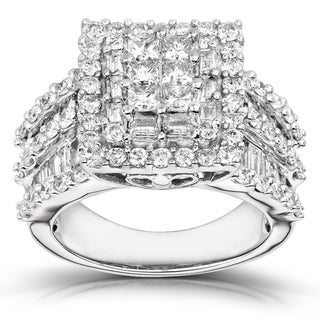 14k White Gold 2ct TDW Princess-cut Pave Diamond Ring (H-I, I2-I3)