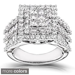 Annello 14k White Gold 2ct TDW Princess-cut Pave Diamond Ring (H-I, I2-I3) with Bonus Item