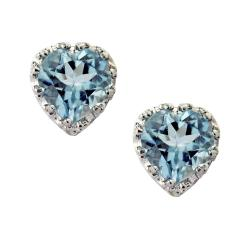 Sterling Silver Aquamarine Heart Earrings