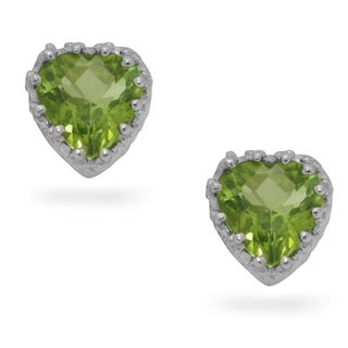 Sterling Silver Peridot Heart Earrings