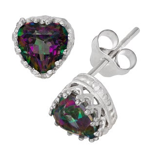 Gioelli Sterling Silver Mystic Green Topaz Heart Earrings
