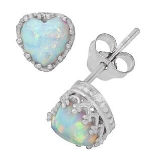 Gioelli Sterling Silver Opal Heart Earrings