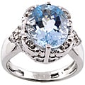 Michael Valitutti 14k Gold Aquamarine and 1/10ct TDW Diamond Ring (I-J, I1-2)