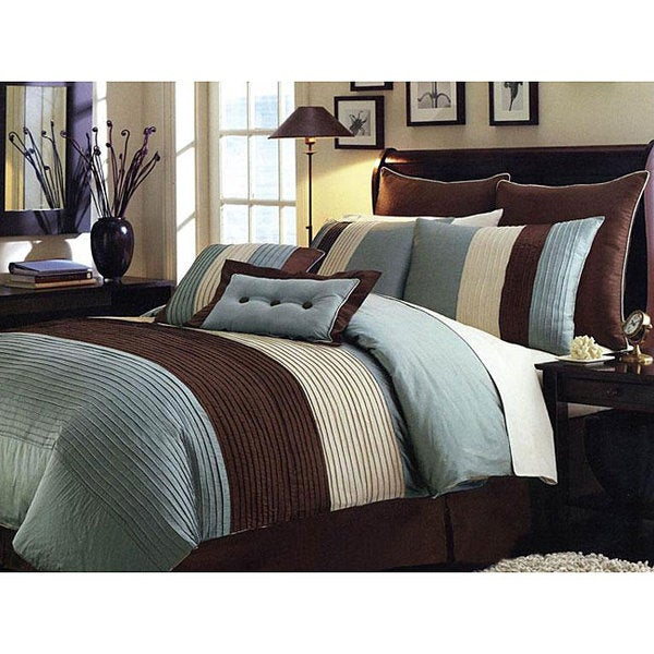 Handcrafted Blue Pintuck 8-piece Comforter Set