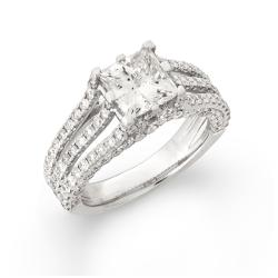 14k White Gold 3 1/2ct TDW Princess-cut Diamond Engagement Ring (H, I1)
