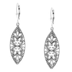 Sterling Silver Marquise-shaped Filigree Cutout Drop Earrings