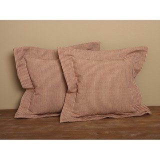 Cranberry Flanged Ticking Stripe Pillows (Set of 2)