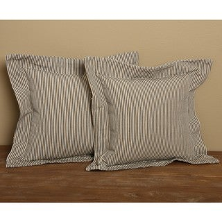 Blue Flanged Ticking Stripe Pillows (Set of 2)