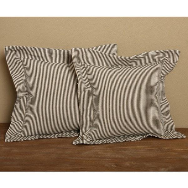 Blue Flanged Ticking Stripe Pillows (Set of 2)