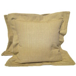 Tan Flanged Ticking Stripe Pillows (Set of 2)