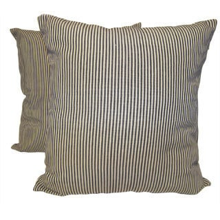 RLF Home Black Ticking Stripe Pillow (Set of 2)