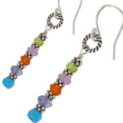 Misha Curtis Sterling Silver Gemstone Totem Pole Earrings