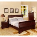 Bravo Dark Cherry Finish 4-piece Queen-size Bed Set