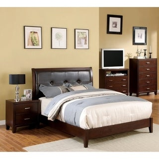Furniture of America Webster Brown Cherry Finish 4-piece Queen-size Bed Set