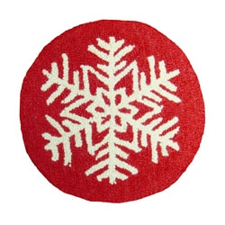 Red Snowflake Wool Hooked Chair Pad