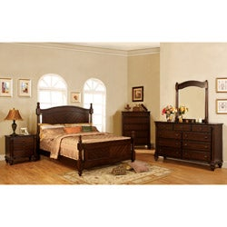 Furniture of America Vandenberg Dark Walnut Finish 4-piece Queen-size Bed Set