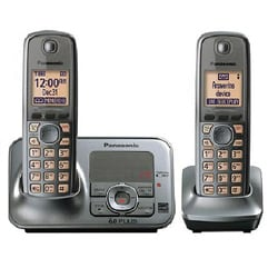 Panasonic KX-TG4132M DECT 6.0 Cordless Phone Digital Answering System with 2 Handsets (Refurbished)