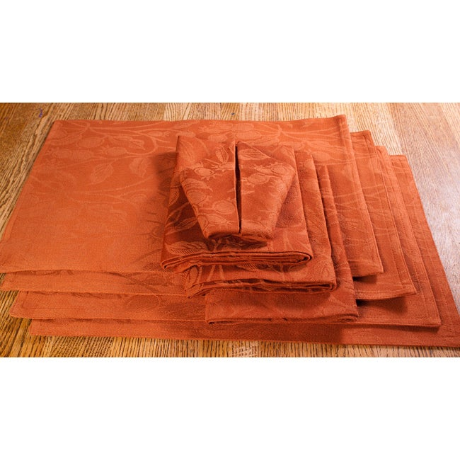 Terra Cotta Floral Placemat and Napkin 8pc Set