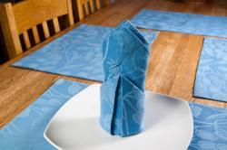 Blue Floral Vine Placemat and Napkin 8pc. Set
