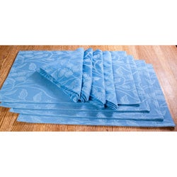 Blue Floral Vine Placemat and Napkin 8pc. Set
