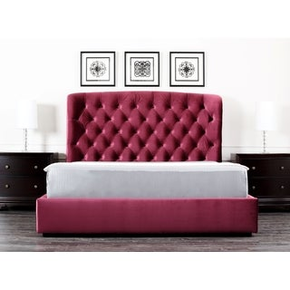 Abbyson Living Presidio Burgundy Tufted Upholstered Queen-size Bed