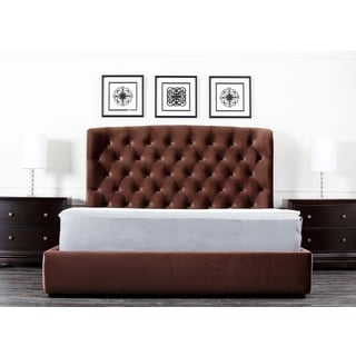 Abbyson Living Presidio Chocolate Tufted Upholstered Queen-size Bed