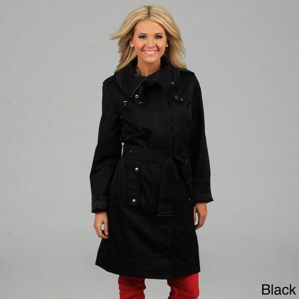 London Fog Women's Dark Truffle Belted Trench Coat FINAL SALE