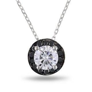 Miadora 14k White Gold 7/8ct TDW Black and White Diamond Pendant (H-I, I1)