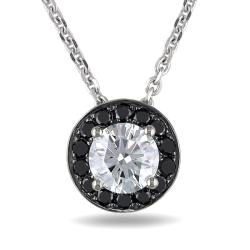 Miadora 14k White Gold 1 2/5ct TDW Black and White Diamond Neckalce (H-I, SI2)