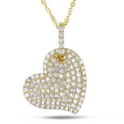 Miadora 14k Yellow Gold 1/2ct TDW White Diamond Heart Necklace (G-H, I1-I2)