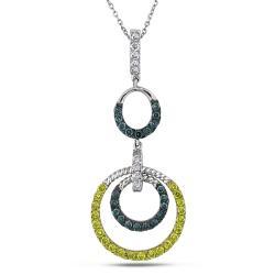 Miadora 14k White Gold 1 1/4ct TDW Multicolor Circle Diamond Necklace (I-J, I1-I2)
