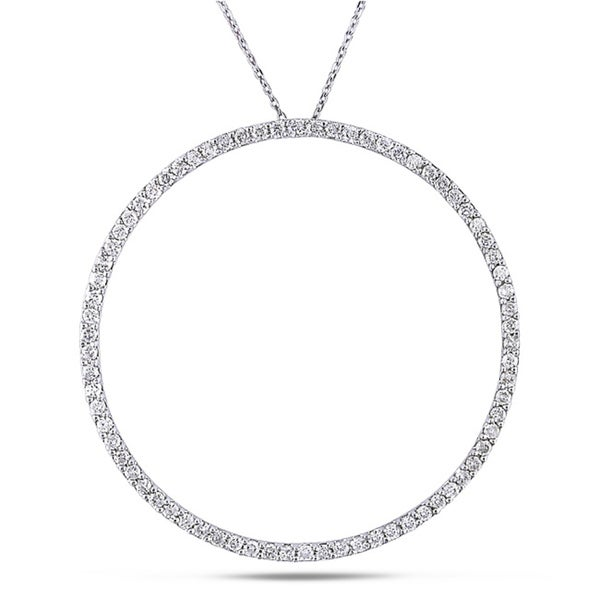 Miadora 14k White Gold 2ct TDW Circle Necklace (H-I, I1-I2)