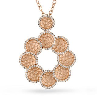 Miadora Signature Collection 18k Rose Gold 7/8ct TDW Diamond Circle Necklace (G-H, SI1-SI2)