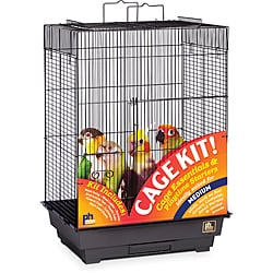 Prevue Pet Products Square Playtop Roof Bird Cage Kit Black 91351