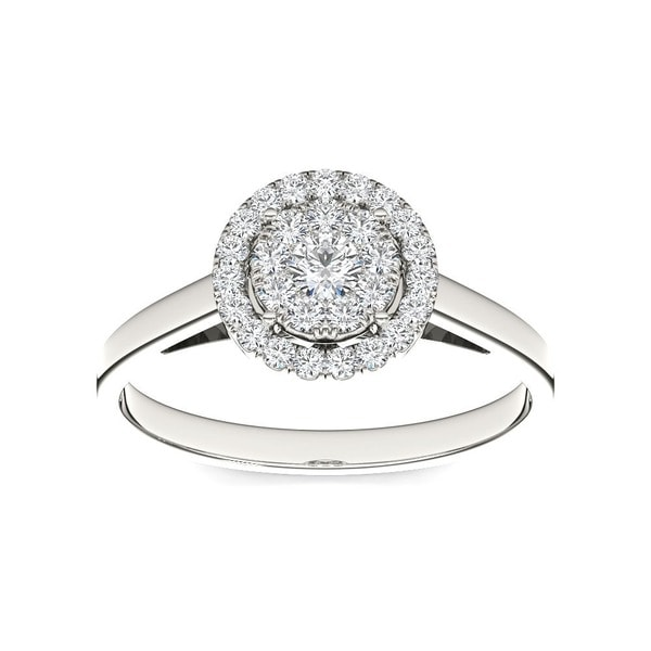 De Couer 10k White Gold 1/3ct TDW Round Multi Stone Diamond Ring (H-I, I2)