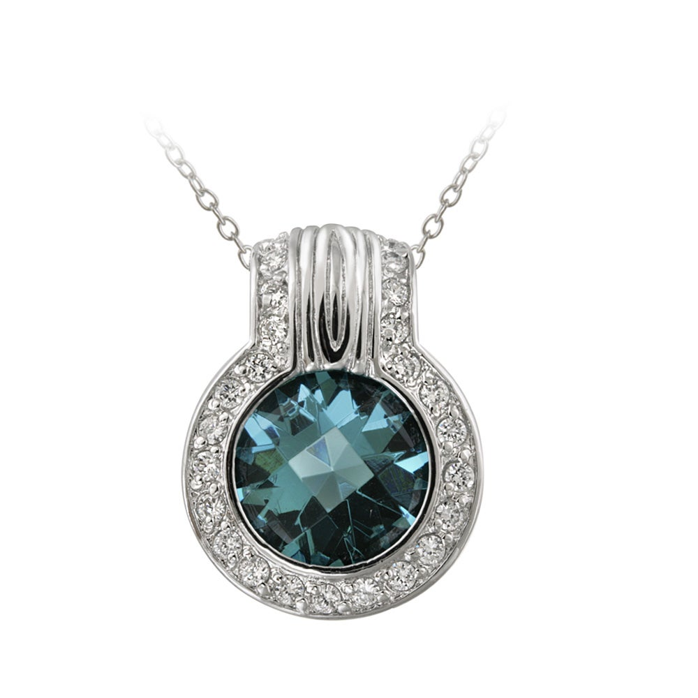 Icz Stonez Sterling Silver Blue Cubic Zirconia Circle Necklace