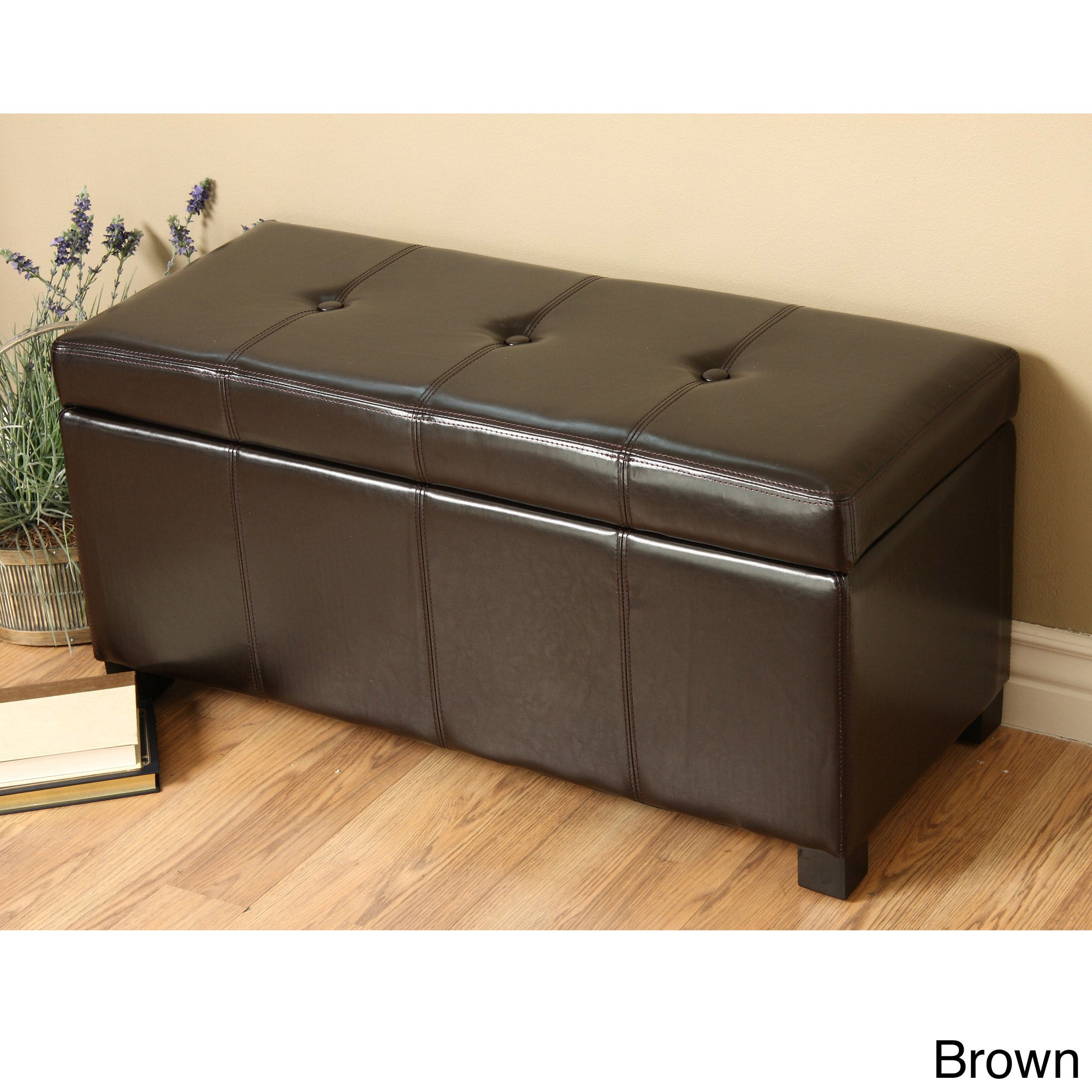 New modern faux leather storage bench living room accent furniture great home ebay Storage benches