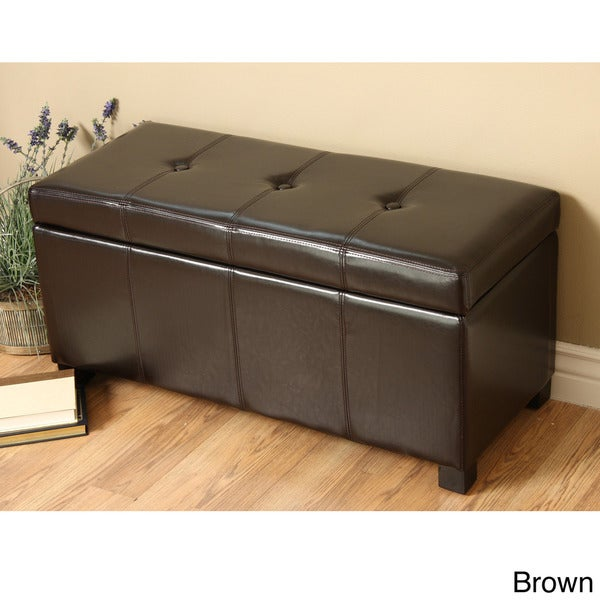 Warehouse Of Tiffany Ariel Dark Brown Faux Leather Storage Bench 13940897