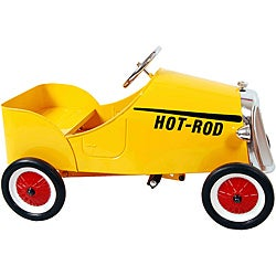 Yellow Retro 19-inch Stamped-steel/Plastic Hot Rod Pedal Car