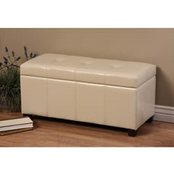 Warehouse of Tiffany Ariel Ivory Wood-and-Faux-Leather Storage Bench