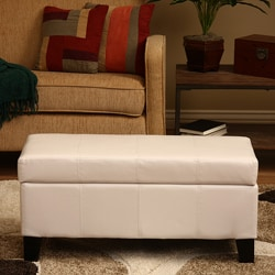 Warehouse of Tiffany Ariel White Faux Leather Storage Bench