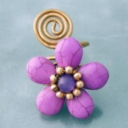 Goldtone Purple Howlite Floral Ring (Thailand)