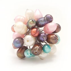 Silvertone Multicolor Pearl Cluster Dome Ring (6-10 mm)(Thailand)