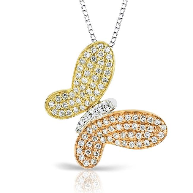 Auriya 14k Tri-color Gold 1/2ct TDW Diamond Butterfly Necklace (H-I, I1-I2)