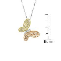 Auriya 14k Tri-color Gold 1/2ct TDW Diamond Butterfly Necklace (H-I, I1-I2)