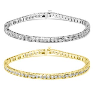 Auriya 14k Gold 4ct TDW Diamond Tennis Bracelet (I-J, I1-I2)