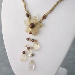 Lemon Quartz Gold Silk Thread Flower Necklace (3-9 mm)(Thailand)